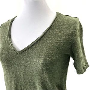 Banana Republic Linen Olive Green Gold Sparkle Tee